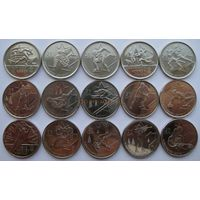 Канада. Олимпиада в Ванкувере 2010 г. Набор монет 25 центов. 15 шт.