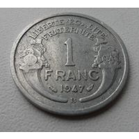 """1 франк франция 1947 """"В"""", г.в. KM# 885a.2 FRANC, из коллекции"""