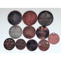 Лот монет (11 шт) Пфенниги 1