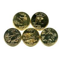 США 2008 набор КВОТЕРОВ ( 25 центов ) 5шт ПОЗОЛОТА