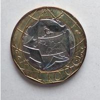 Италия 1000 лир, 1997 Европейский Союз, ошибочная карта Европы - ГДР и ФРГ 5-11-23