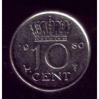10 центов 1980 год Нидерланды