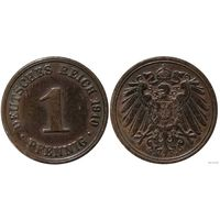 YS: Германия, Рейх, 1 пфенниг 1910A, KM# 10