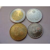 Ливия. набор 4 монеты 2014 год /UNC/ 50, 100 дирхамов, 1/4, 1/2 динара БИ-МЕТАЛЛ
