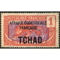 Кошки. Французский Чад. Двойная надпечатка на Среднем Конго. 1922. Леопард. 1c. Чистая