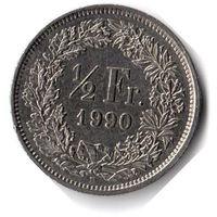 Швейцария. 1/2 франка. 1990 г.