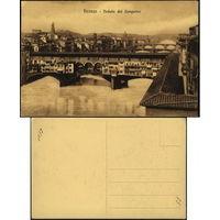 Итальянская открытка первой трети ХХ-го века. Флоренция. Мост Лунгарно.