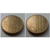 5 гульденов Нидерланды 1990 г.в. KM# 210, 5 GULDEN, из коллекции