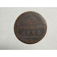 Пруссия 2 пфеннинга 1822г