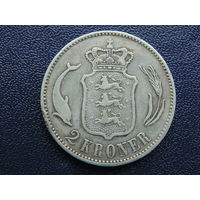 Дания 2 кроны 1876 г. Серебро