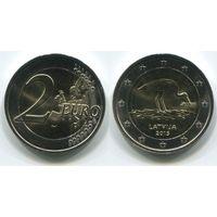 Латвия. 2 евро (2015, UNC) [Аист]