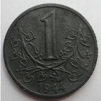 """Богемия и Моравия 1 крона 1944 """"Листья липы"""""""