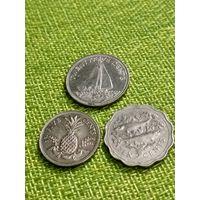 Багамы 3 монеты ( ананас, парусник, селёдка)