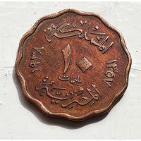 Египет 10 миллим, 1938 5-3-21