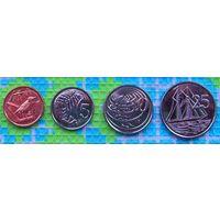 Каймановы острова 1, 5, 10, 25 центов 2013 года. Птица Кайман Ттруш, Креветка, Морская черепаха, Корабль. UNC.
