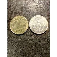 5 марок ФРГ 1951 года J и F (две монеты одним лотом; одна желтая, а другая белая) серебро 0,625.90
