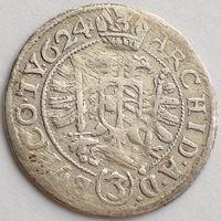 Австрия, 3 крейцера 1624 года, Фердинанд II, КМ# 498