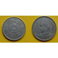 Египет 5 милимс 1938г. Фарук
