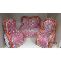 Диван и два кресла для куклы(кукол),кукольная мебель новая ,ручная работа