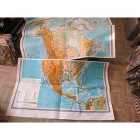 Северная Америка. Физическая карта для общеобразовательной школы из 2-х листов 115*70 см. Два комплекта. Цена за один..