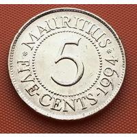 119-09 Маврикий, 5 центов 1994 г. Единственное предложение монеты данного года на АУ