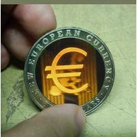 Либерия 10 долларов 2002г. Евро-новая валюта. 3D голограмма.