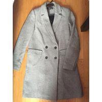 Пальто Zara XS серое классика