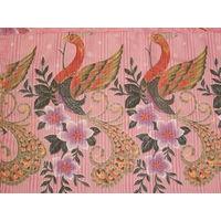 Кусок ткани СССР - птицы с люрексом