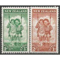 Новая Зеландия. Мальчик и девочка на качелях. 1942г. Mi#273-74. Серия.