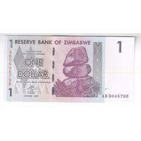 1 доллар Зимбабве 2007года ПРЕСС!