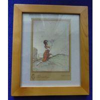 Старинная гравюра Пришествие  фей 1920г., в деревянной раме