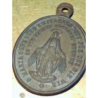 Медальон, оберег немец. солдата ПМВ, ВМВ, на немецкм языке, ладанка, икона, длина с ухом 3.2 см.