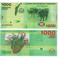 Бурунди 1000 франков 2015 год  UNC