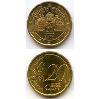 Австрия 20 евроцентов 2013 г. KM#3140