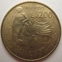 Италия 200 лир 1999 г. 30 лет карабинерам (редкая)