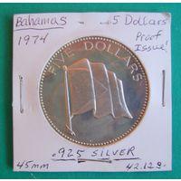 5 долларов Багамские острова 1974г.
