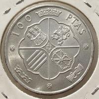Испания, 100 песет/ ptas 1966 (67) - год чеканки указан на звезде, серебро 800, KM#797, Франсиско Франко, состояние Unc