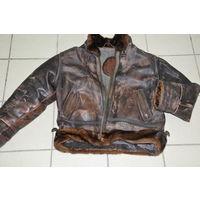 Из прочнейшей,мягчайшей кожи с натур.мехом зимняя куртка-пилот лично куплена ещё в ФРГ. Р52-54-3.
