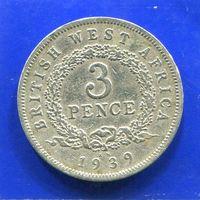 Британская Западная Африка 3 пенса 1939 KN