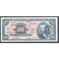 Бразилия надпечатка 5 на 5000 крузейро 1966 г.