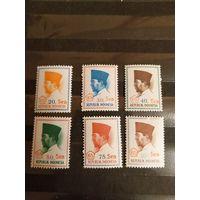 1966 Индонезия полная серия диктатор Сухарно чистые клей MNH** 1 с лёгкой наклейкой(5-7)