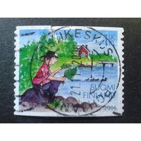 Финляндия 2006 рыболов, сказка, марка из буклета Mi-1,3 евро гаш.