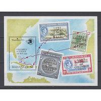Открытие Америки. Колумб. Багамы. 1989. 1 блок. Michel N бл.59 (14,0 е)