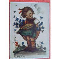 Девочка с голубыми цветами. Дети. Германия. 1950-е