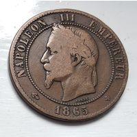 """Франция 10 сантимов, 1865 """"BB"""" - Страсбург 3-12-18"""