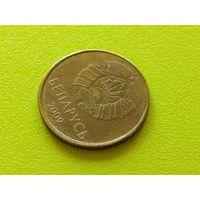 Республика Беларусь (РБ). 50 копеек 2009. Брак, смещение.