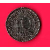 02-09 Польша (немецкая оккупация) 10 фенигов 1917 г.