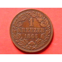 1 крейцер 1866 года Баден