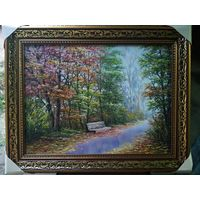 """Картина маслом""""Осень в парке"""""""