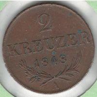 Австро-Венгрия 2 крейцера 1848 года. Буква А. Состояние! Редкая!